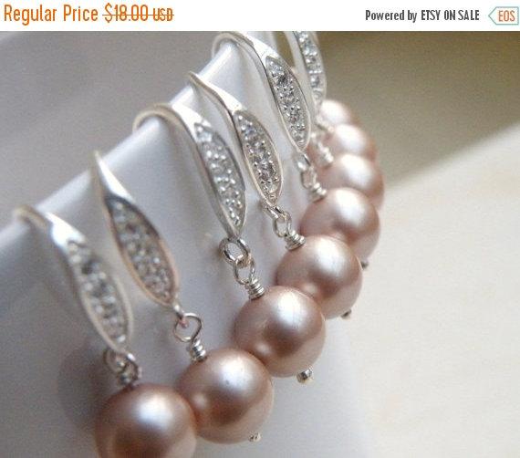 Свадьба - Mega SALE Earrings Swarovski Champagne Pearl Sterling Silver CZ  Bella E14