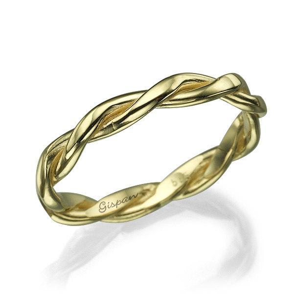 Свадьба - Braided Wedding Ring, Yellow Gold Ring, Wedding Band, Unisex ring, Woman Ring, Thin Ring, braided band, knot ring, Band ring, twisted ring