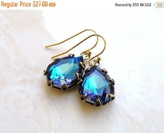 Свадьба - Mega SALE Peacock Blue Earrings Foiled Pear Teardrop Stone Rhinestone BEGoldV3