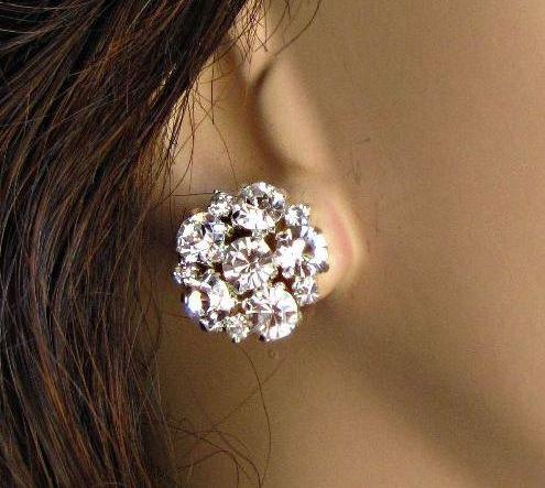 Свадьба - Bridesmaids Earrings, multiples discount, Crystal Post, Rhinestone stud, wedding jewelry, Bridesmaid jewelry, cluster earrings, Bridal