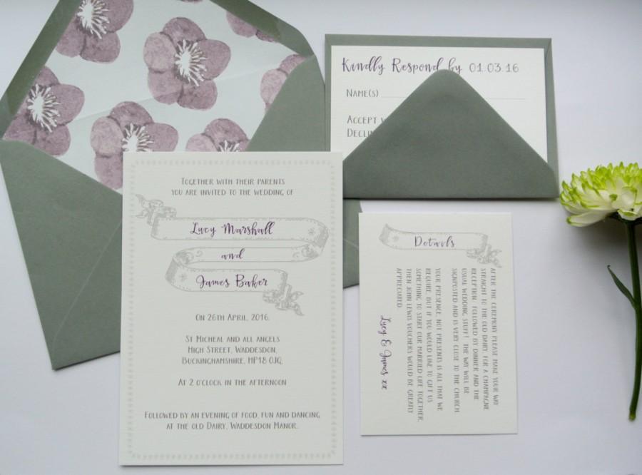 Mariage - Grey Sketched Banner Wedding Invitation, Dark Purple Font and floral lined envelope. *Sample*