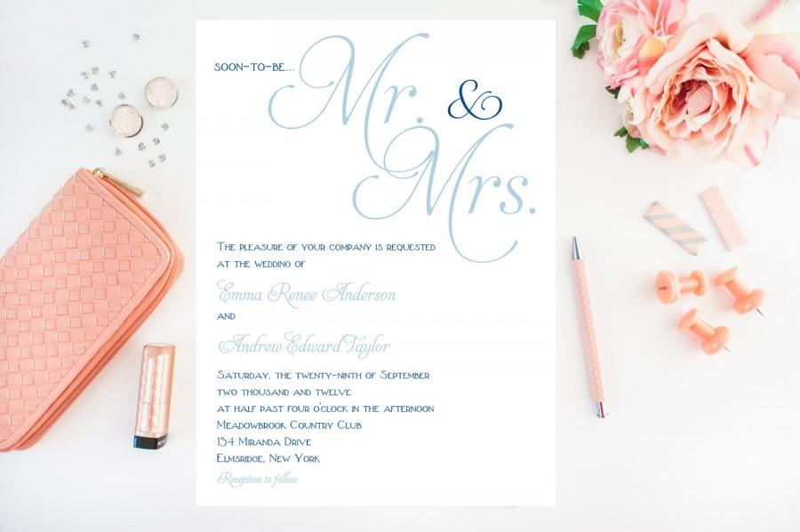 Simple Classy Wedding Invitations, Blue Wedding Invitation - Mr ...