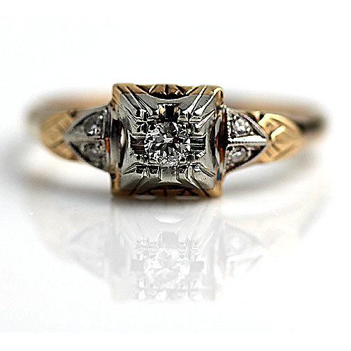 Mariage - Antique Engagement Ring Rose Gold .16ctw Old European Cut Diamond Victorian Ring 14K Rose Gold Vintage Wedding Ring Vintage Promise Ring!