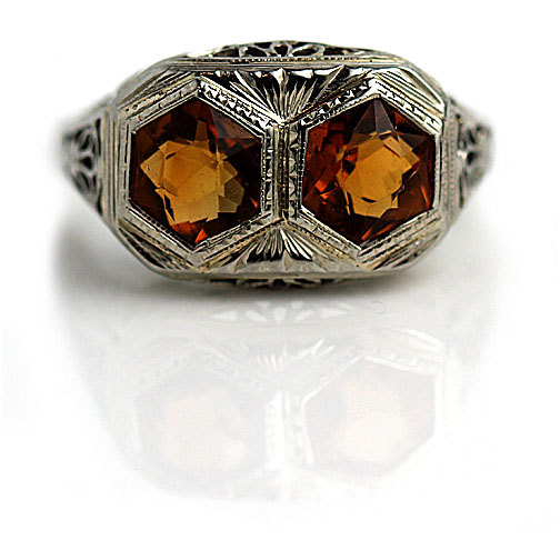 Hochzeit - Art Deco Twin Citrine Ring 2.50ctw Hexagonal Cut Gemstone Ring 18 Kt White Gold November Birthstone Cocktail Ring 1930s Art Deco Ring Size 7