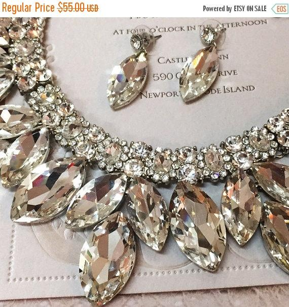 Mariage - Wedding jewelry set, bridal jewelry set, Bridal backdrop bib necklace earrings, bridal necklace statement, Marquise crystal jewelry set