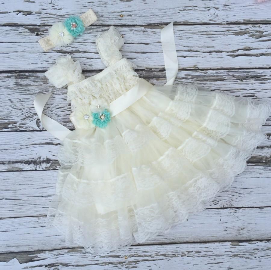 Свадьба - Flower girl dress. Ivory lace dress. Girls dress. Ivory lace girls dress. Country wedding. Ivory chiffon girls dress. Ivory girls dress