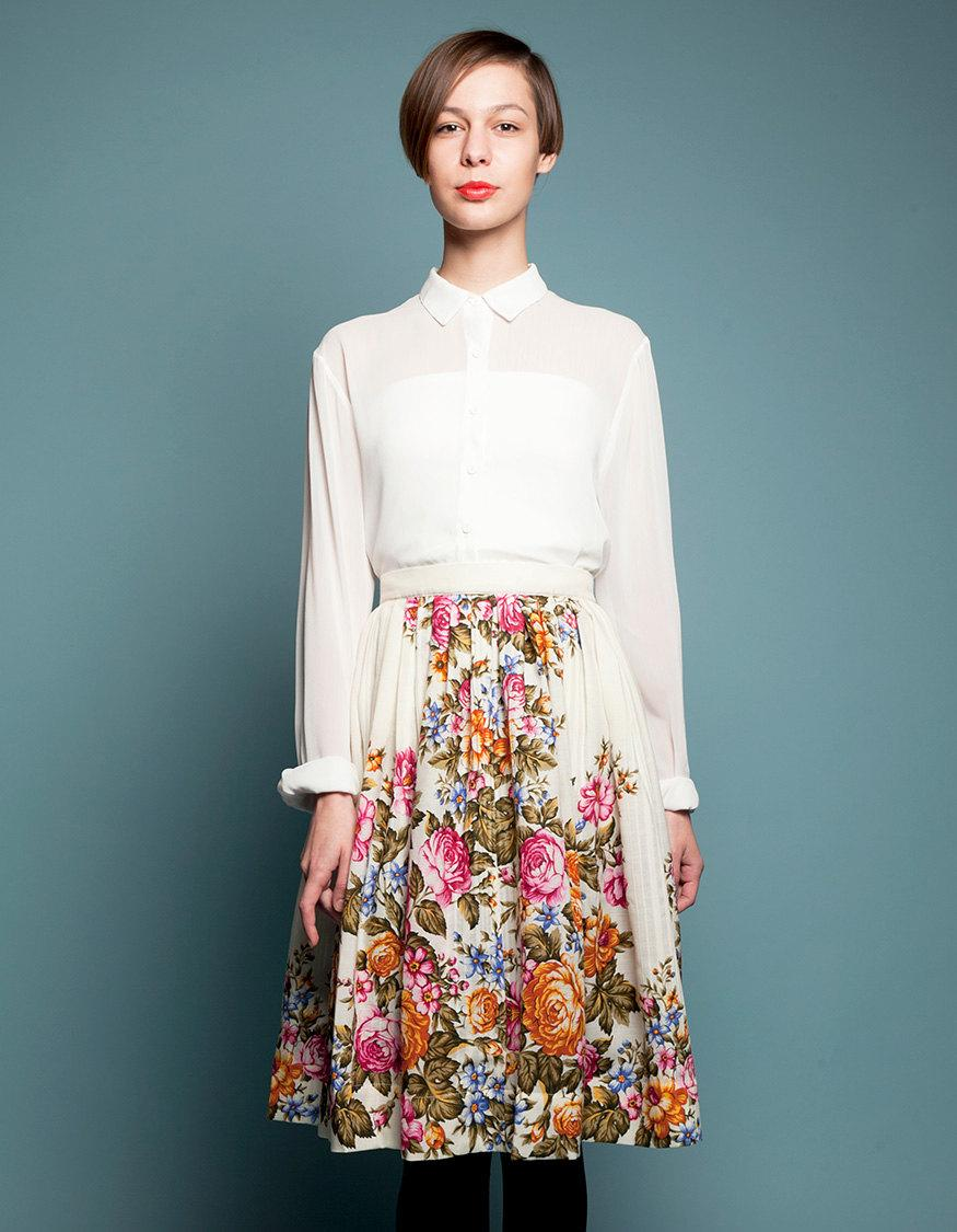Mariage - Pleated skirt Boho wedding skirt White pleated skirt Floral wool skirt Off white skirt  Wedding skirt floral Plus size skirt Handmade skirt