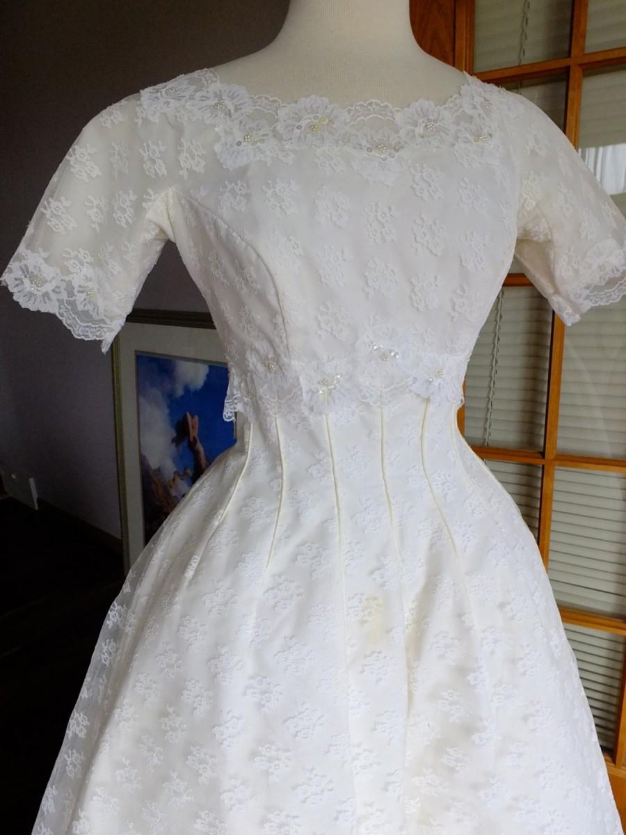 Nozze - Wedding dress 1960s all lace ballgown wedding dress sz 6