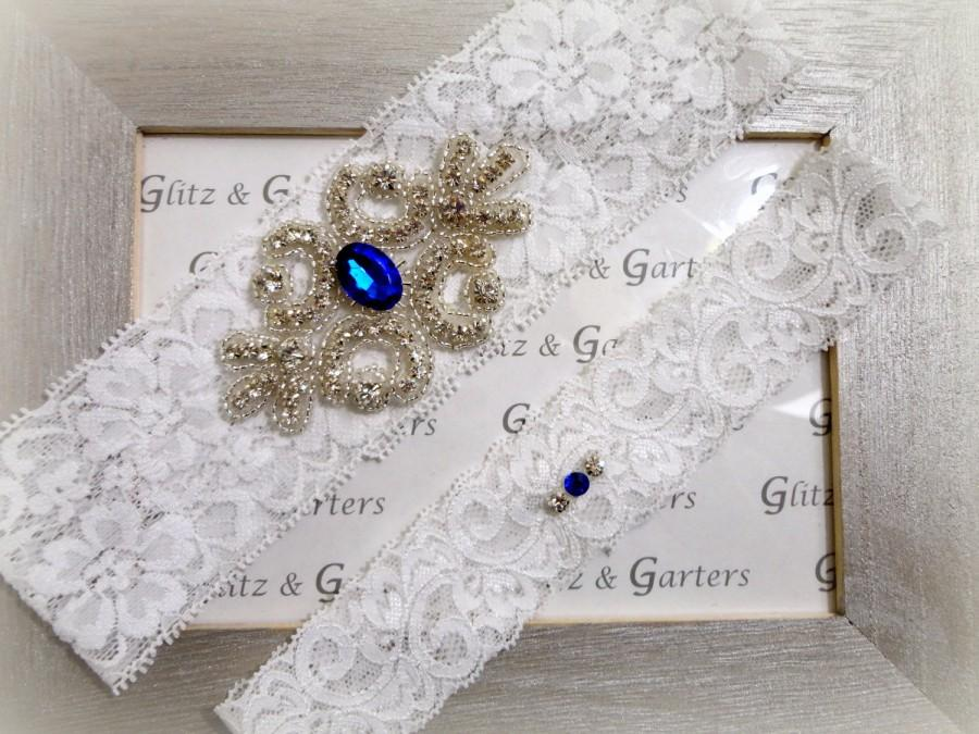 Свадьба - Wedding Garter Set - WHITE Lace Bridal Medium SILVER Rhinestone Crystal Crest Show & Petite Rhinestone Crystal Toss - other COLORS available