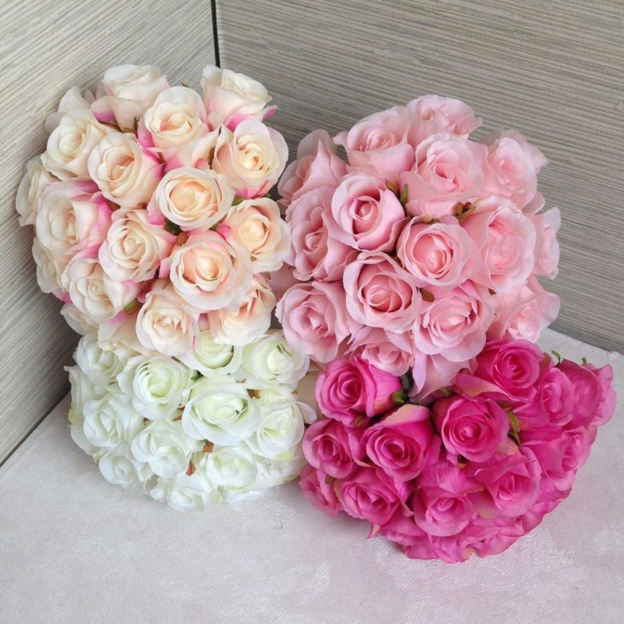 Silk Rose Bouquet For Bridesmaids Artificial Flower Bouquets Buds White Champagne Hot Pink