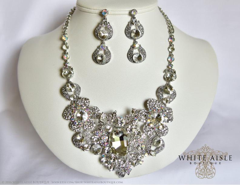 زفاف - Wedding Jewelry Set, Crystal Bridal Statement Necklace Earrings, Bridal Earrings, Vintage Style