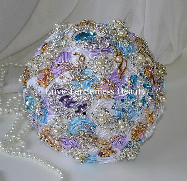 Bridal Wedding Brooch Bouquet Blue Lilac And Silver Gold Wedding