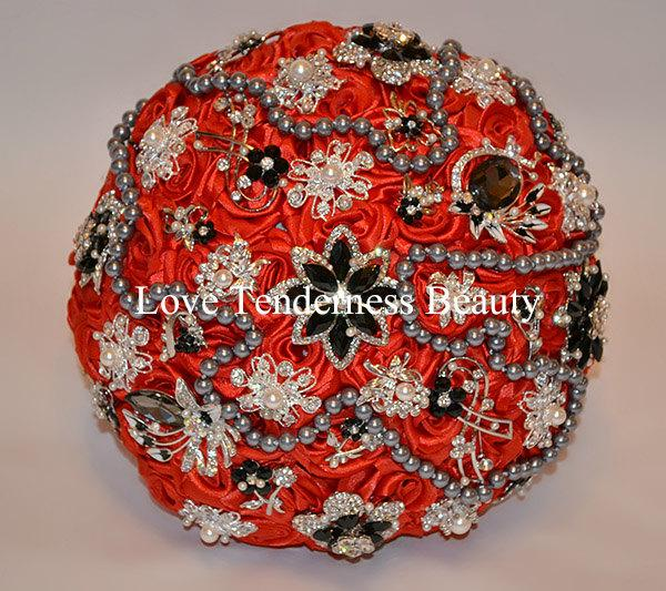 Mariage - WEDDING BROOCH BOUQUET, Red & Black Wedding Bouquet, Silver and Gold brooches, Jewelry Bouquet, Gothic Wedding Bouquet, Rhinestone Bouquet