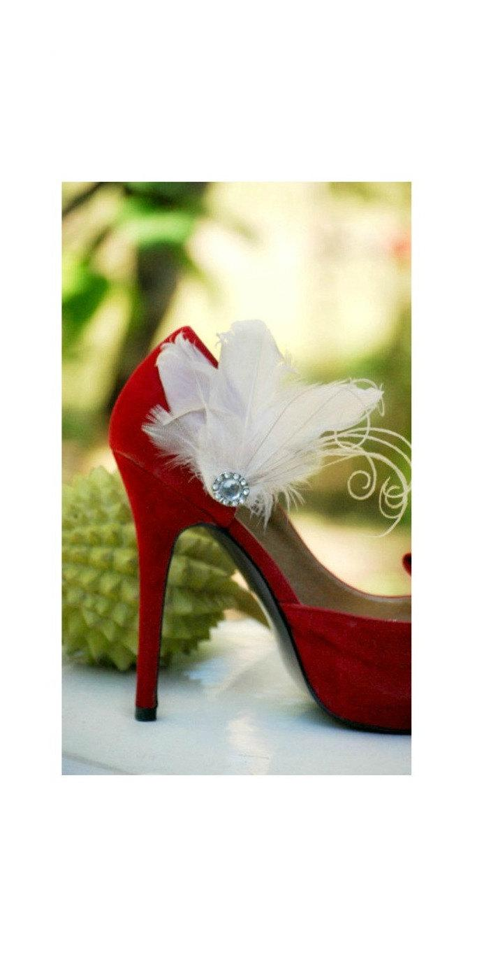 e67fc1c898d1 Shoe Clips IVORY   Fuschia   Black   Red   Kelly Green   Royal Blue    Purple Couture. Mixed Feathers Accessory