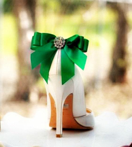 Wedding - Shoe Clips Bow Kelly Green Emerald. Yellow Tangerine Orange Blue Purple Bright Satin Ribbon. White Ivory Pearl / Rhinestone. St Patricks Day