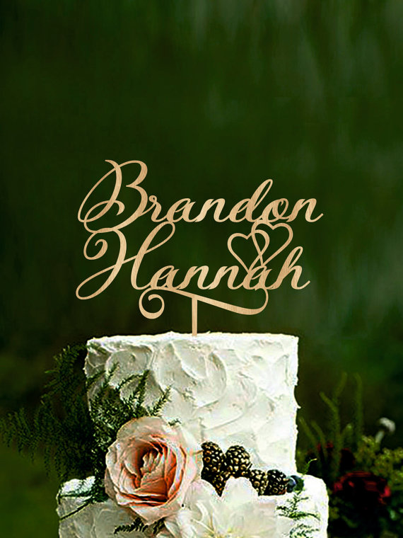 Hochzeit - Personalized wedding cake topper Name Cake Topper custom cake toppers rustic cake toppers for weddings couple cake topper gold topper