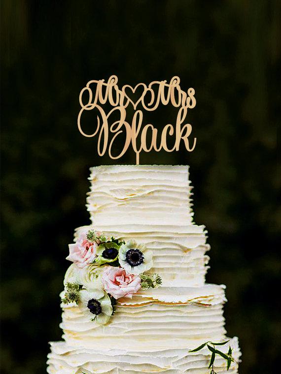 Hochzeit - Mr Mrs Wedding Cake Topper Custom Last Name Personalized Wood Cake Topper Rustic Wedding Gold cake topper
