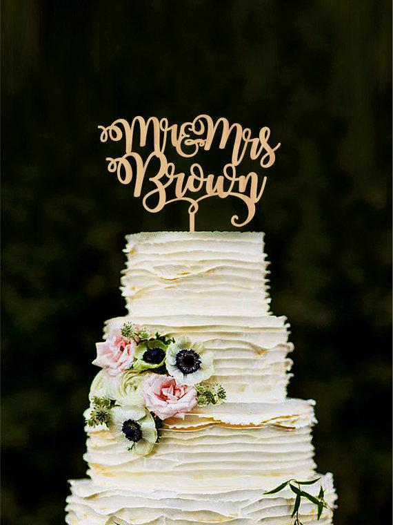 زفاف - Mr and Mrs wedding cake topper Custom wedding cake topper Bride and groom cake topper personalized Rustic cake toppers for wedding Gold Nice