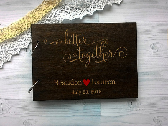 Mariage - Wedding guest book Wooden Rustic Guestbook Wood Guest Book Custom Guest Book