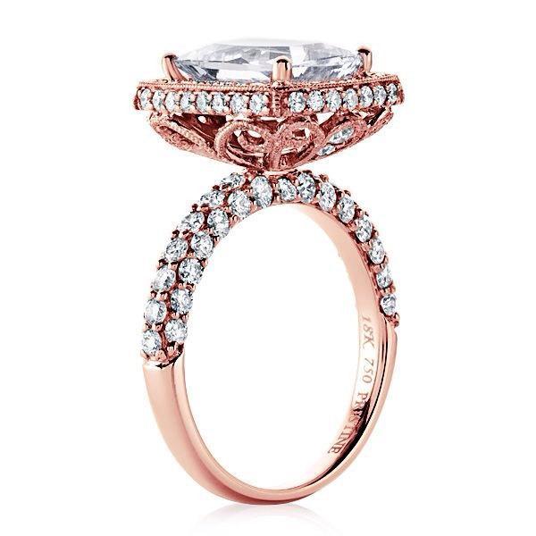 Mariage - Rose Gold Engagement Ring 14k Radiant Cut Forever Brilliant Moissanite Center & Natural Diamonds Filigree Mill Grain Pristine Custom Rings
