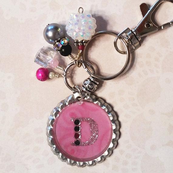 Wedding - Custom Keychain, Purse Charm, Womens Keychains, Keychain for Women, Monogram Keychain, Custom Letter Keychain, Keychain, Beaded Keychain