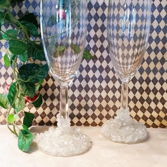 Wedding - Wedding Champagne Flutes, Decorated Champagne Flutes, Bride and Groom Champagne Glasses, Beaded Glasses, Wedding Glasses, Champagne Glasses