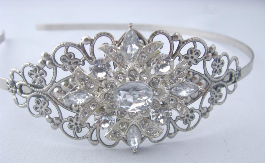 زفاف - Silver Rhinestone Wedding Headband, Crystal Bridal Head Piece, Something Blue Vintage Style Hair Accessory, Jeweled Head Band