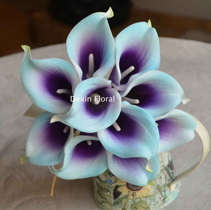 10 Light Aqua Blue Purple Picasso Calla Lilies Real Touch Flowers
