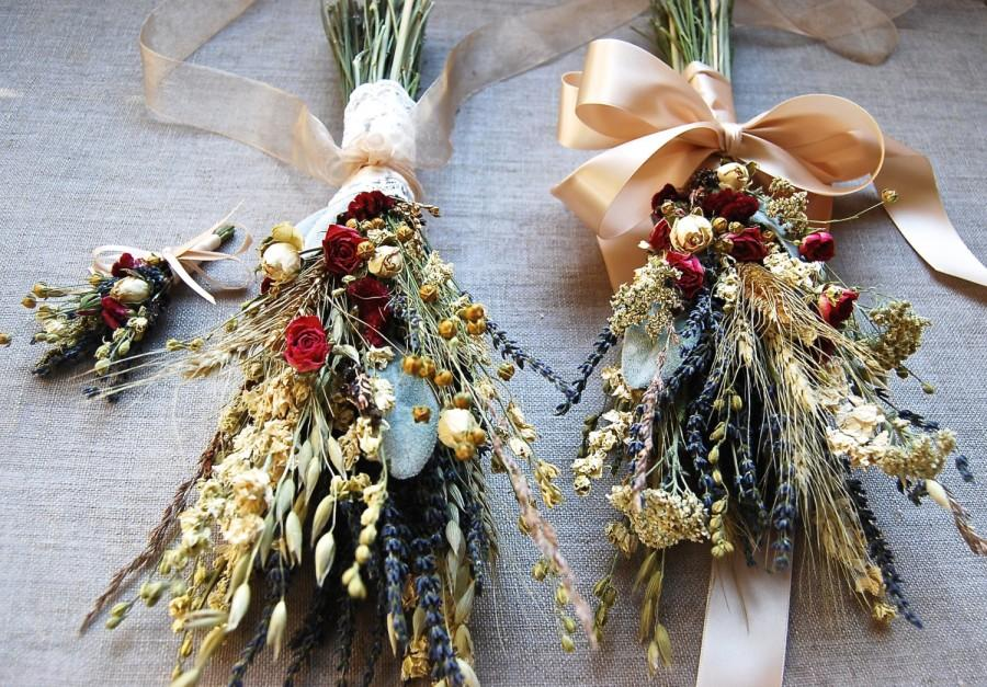 Mariage - Fall Winter Wedding  Brides, Bridesmaids or Flower Girls Bouquet of Lavender Roses Larkspur Gilded and Green Wheat and other dried flowers