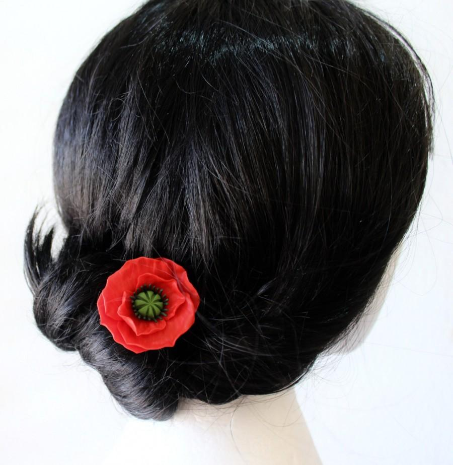 Red poppy hair pin blue poppy hair flowers poppies for hair red poppy hair pin blue poppy hair flowers poppies for hair wedding hair accessory pin white bridal hair pins izmirmasajfo Image collections