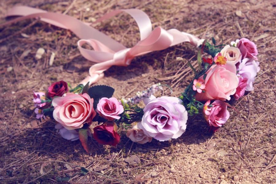 Свадьба - Blooming Love / peach, pink, orenge, flower crown, wedding, bridal hair accessories, floral crown, vintage