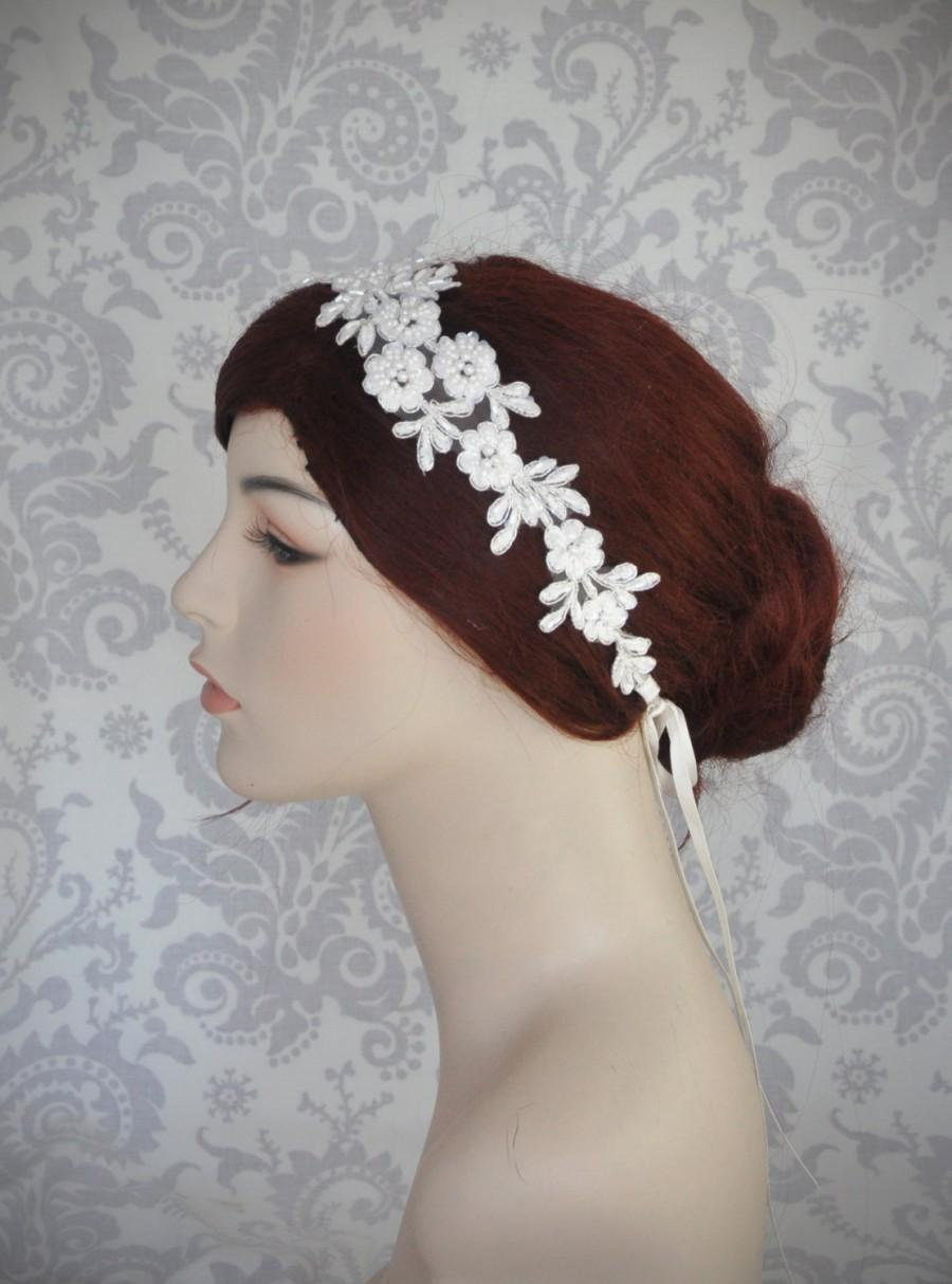 Свадьба - Lace Headband, Bridal Headband, Boho, Ribbon Tie Lace Headpiece, Bridal Hair Accessory, White, Ivory - 112HB