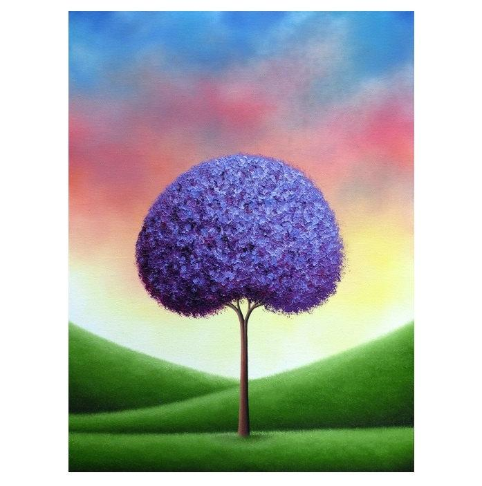 Mariage - Giclee Art Print of Lavender Tree, Colorful Art Print of Landscape Painting, Country Rustic Wall Art, Contemporary Art, Purple Tree Print