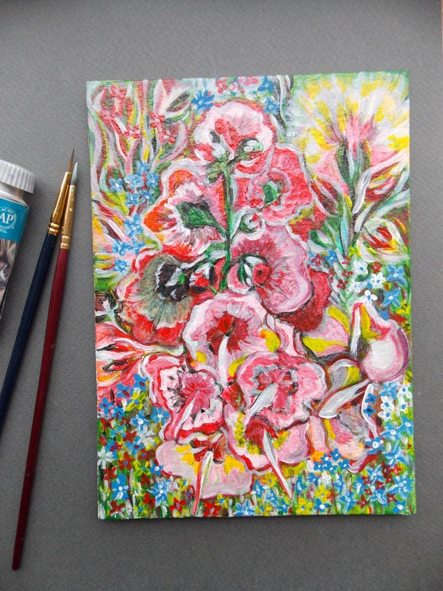 Свадьба - Original acrilyc paining made on small canvas(5,12 X 7,09) Nice gift for home decor. Flowers painting, Landscape, idea