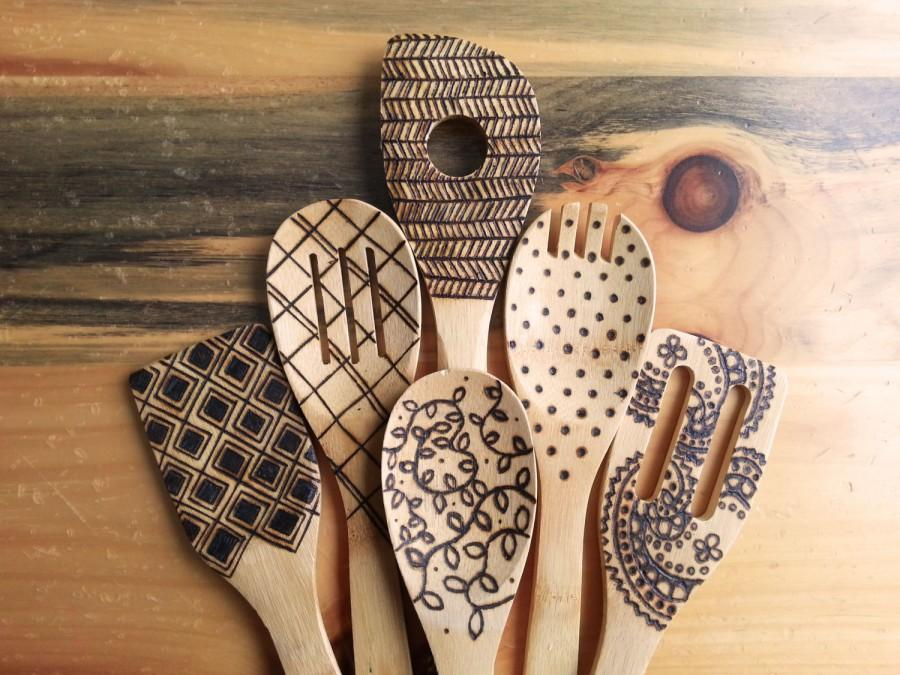 Свадьба - Wood burned kitchen utensils, bamboo wooden spoons