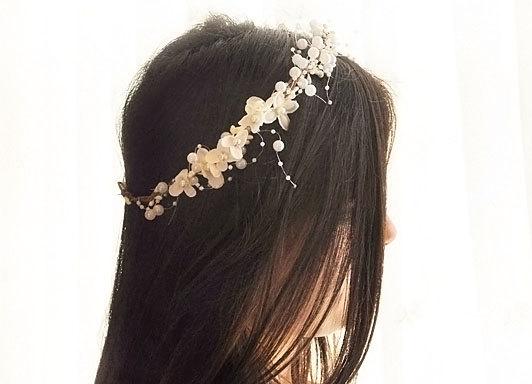 Свадьба - white head wreath. Wedding flower crown, Hair floral crown, Wedding Hairpiece, Rustic Head Wreath, wedding Accessories. Pearl