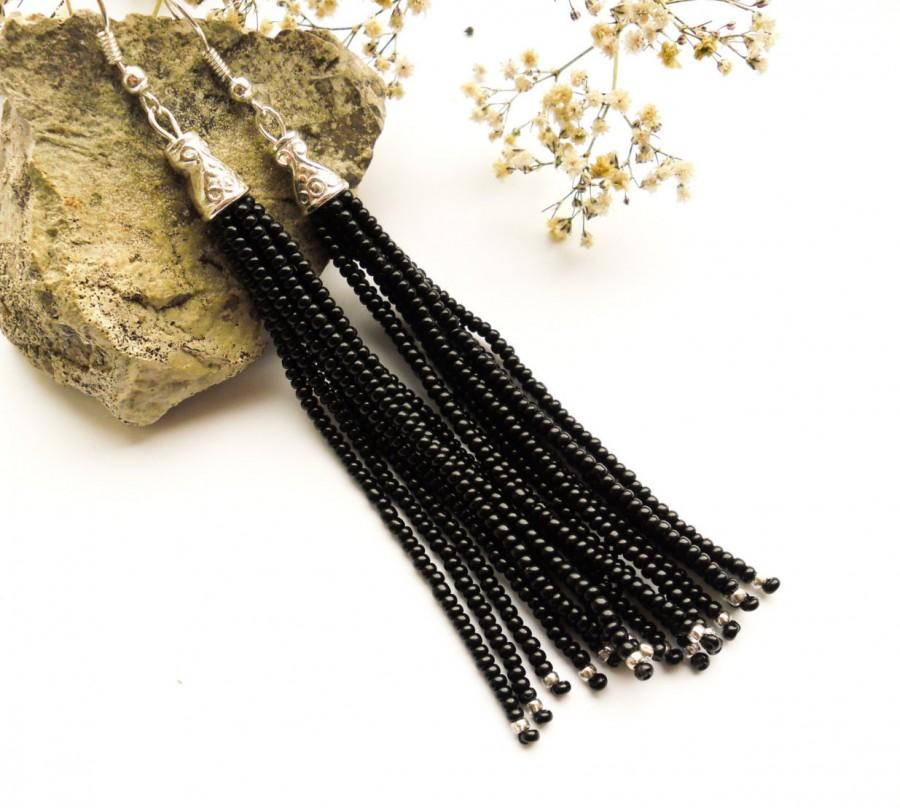 Tel Earrings Long Beaded Black Fringe Dangle Seed Bead Gift For Idea