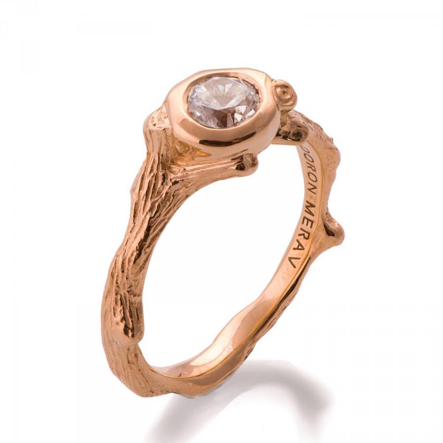 Свадьба - Twig Engagement Ring - 18K Rose Gold and Diamond engagement ring, engagement ring, leaf ring, filigree, antique, art nouveau, vintage, 10