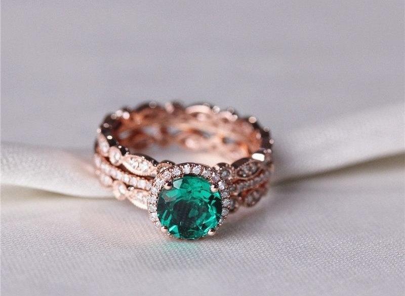 Round Emerald Diamond Halo Engagement Ring Rose Gold Art Deco Wedding Set