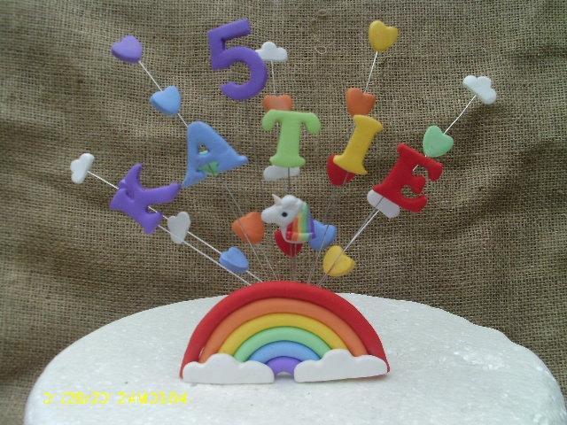 Свадьба - Rainbow  unicorn birthday display cake topper