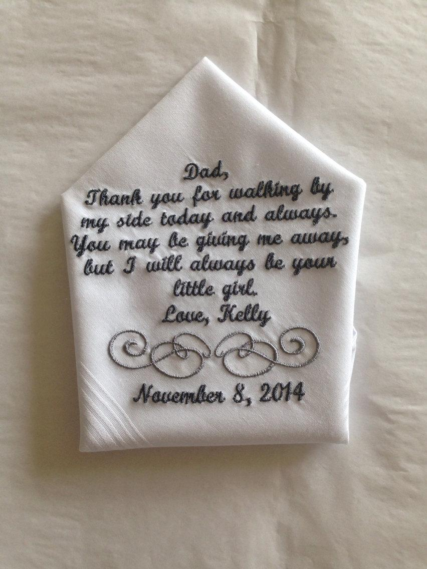 Wedding - Personalized Father of the Bride wedding Handkerchief  gift from bride to her father