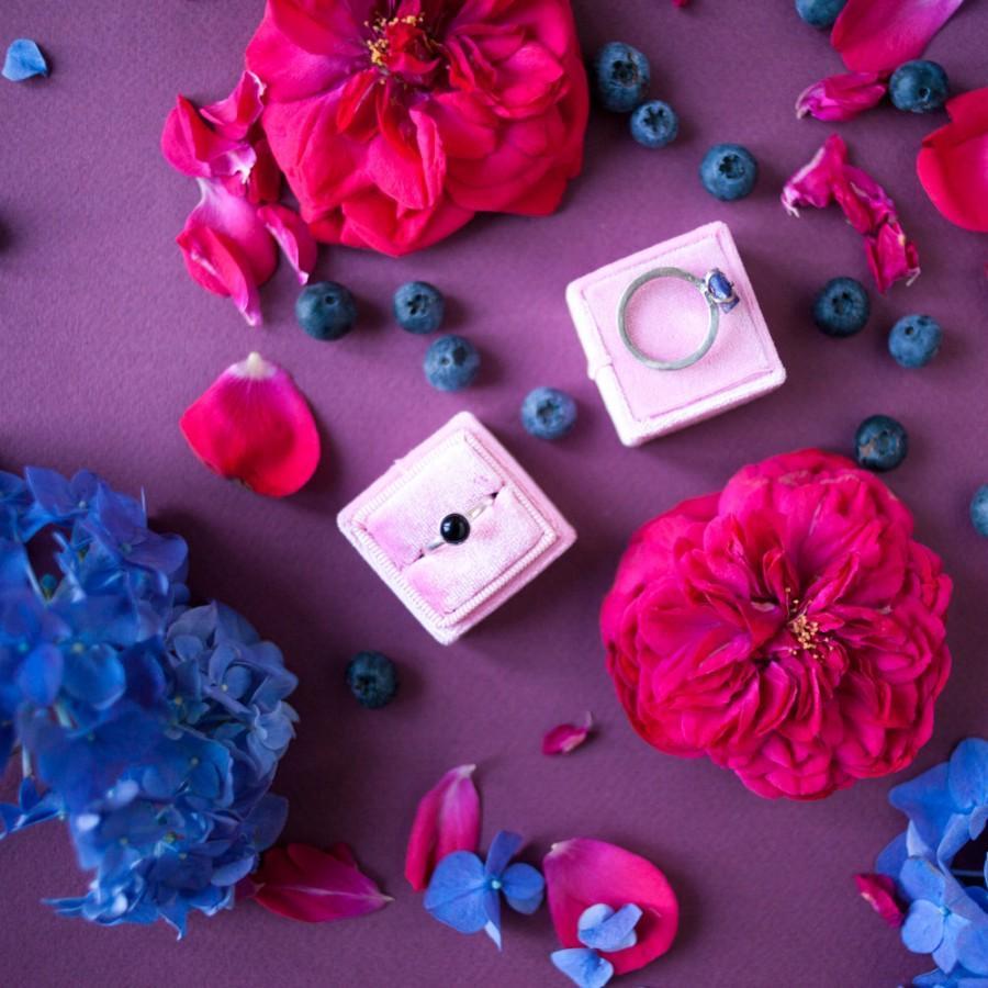 Hochzeit - Free shipping!  Pink Sugar Velvet Ring Box Handmade Wedding Vintage Shiny  Engagement Gift Bride