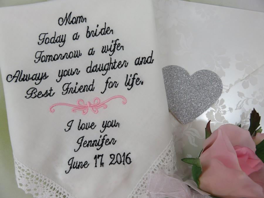 Hochzeit - Mother of Bride Gift - Embroidered Wedding Handkerchief - To Dry Your Tears - Wedding Gift For Parent - Personalized Hankerchief -Mom Hankie