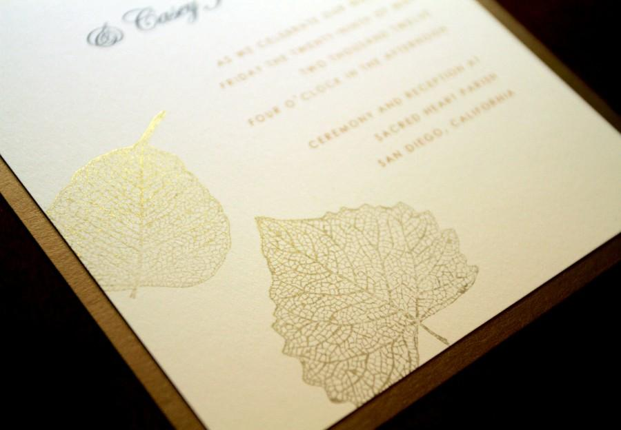 Gold Falling Leaves Hand Stamped Wedding Invitation Set Autumn