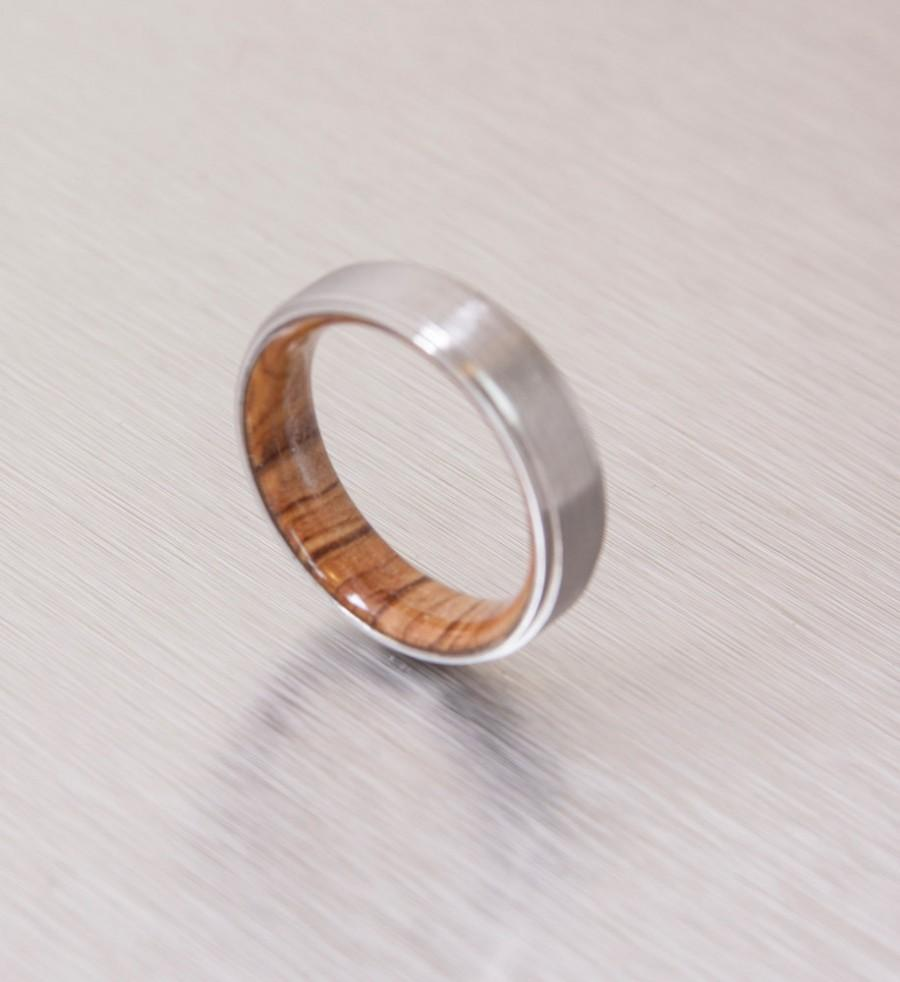 Wedding - Titanium Ring Wood Ring Mens Wood Wedding Band with  woman man ring olive wood ring