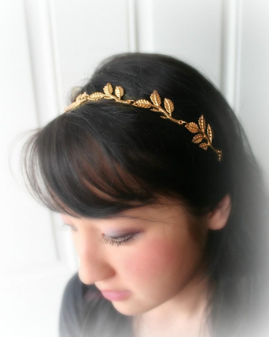 Mariage - Gold Leaf Wedding Garland Headpiece - Bridal Hair Accessories - Forehead Hair Head Band -  Headband Wedding