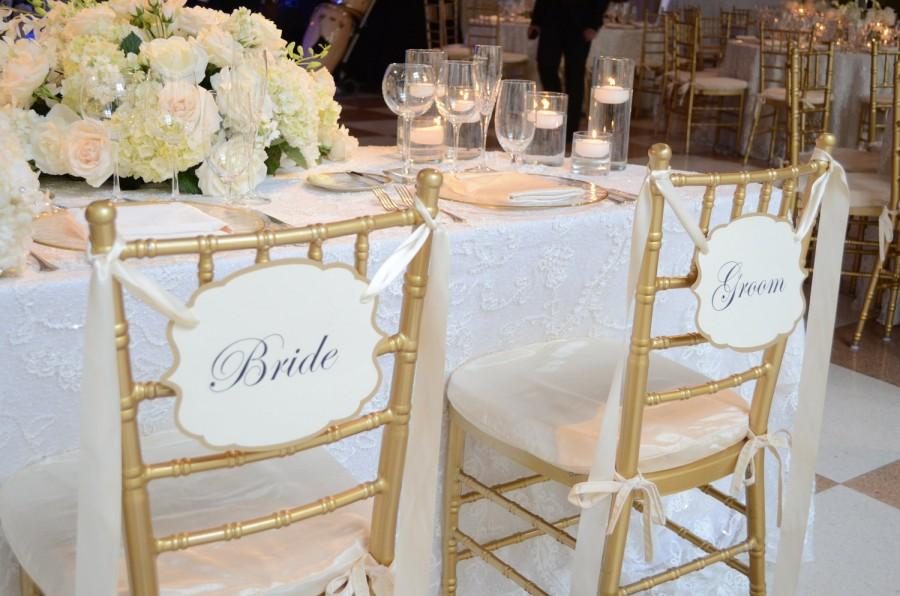 Wedding - Bride and Groom Wedding Chair Signs