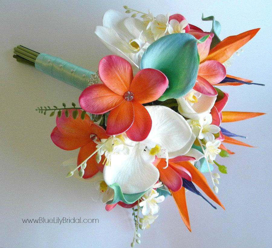 Wedding - Beach Bridal Bouquet in Coral,  Aqua Green and Cream with Real Touch Callas, Orchids, Plumeria, Bird of Paradise.  Design #107