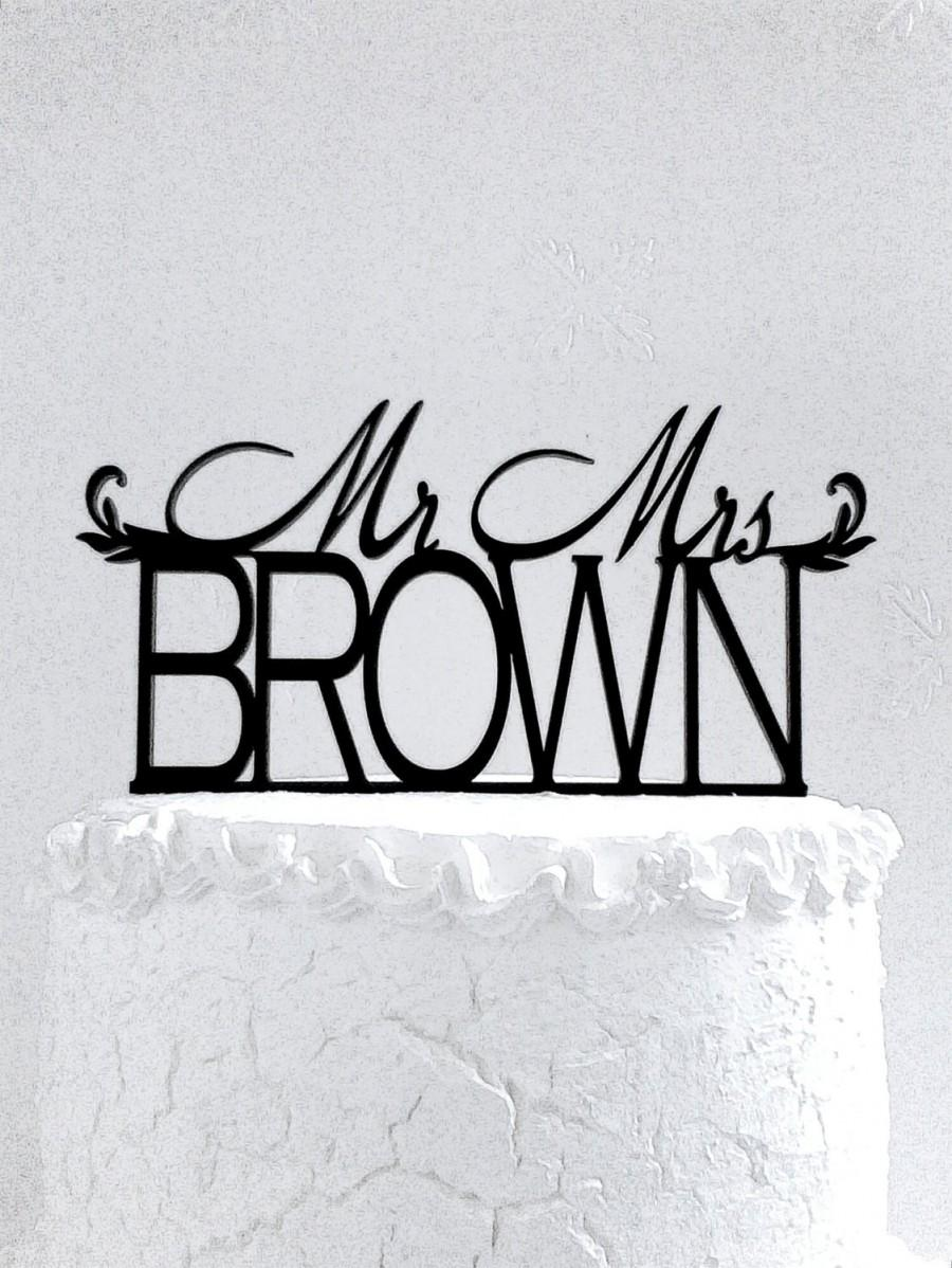 Wedding - Mr and Mrs  Brown Wedding Cake Topper