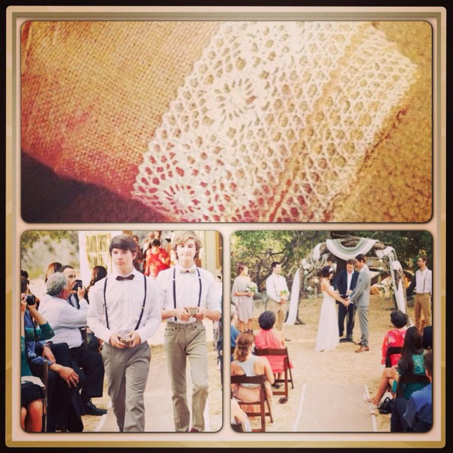 "Свадьба - Aisle Runner, Crochet Ivory Lace Trimmed Burlap Wedding Aisle Runner 50 feet Long (600"") Ships ASAP."
